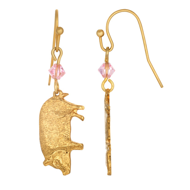 14K Gold Dipped Pig with Pink Bead Drop Earrings
