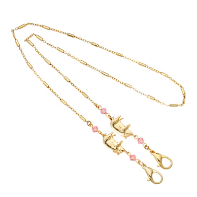 14K Gold Dipped Pig with Light Rose Beads Face Mask Chain Holder 22 Inches