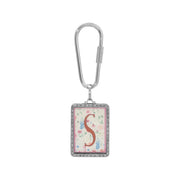 1928 Jewelry Rectangular Antiqued Floral Motif Initial Key Fob