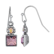 Silver Tone Aurora Borealis Crystal Wire Earrings