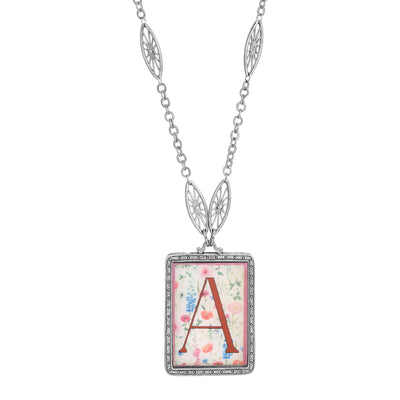 Rectangular Antiqued Floral Motif Initial A Pendant Necklace