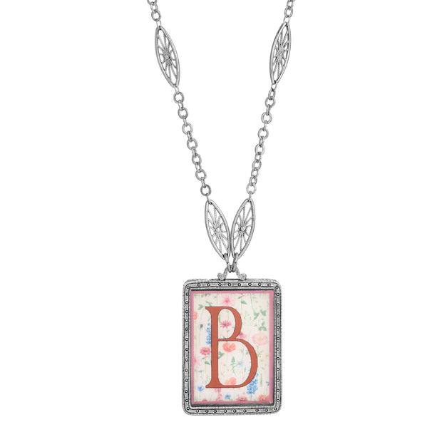 Rectangular Antiqued Floral Motif Initial B Pendant Necklace