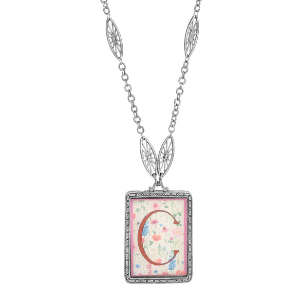 Rectangular Antiqued Floral Motif Initial C Pendant Necklace