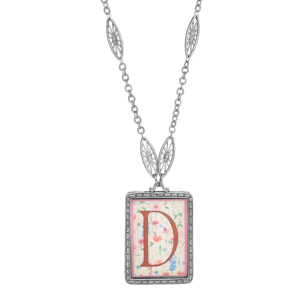 Rectangular Antiqued Floral Motif Initial D Pendant Necklace