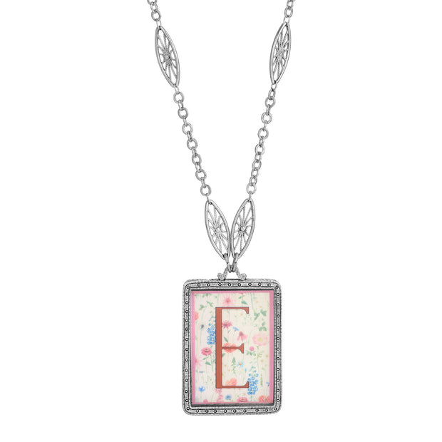 Rectangular Antiqued Floral Motif Initial E Pendant Necklace