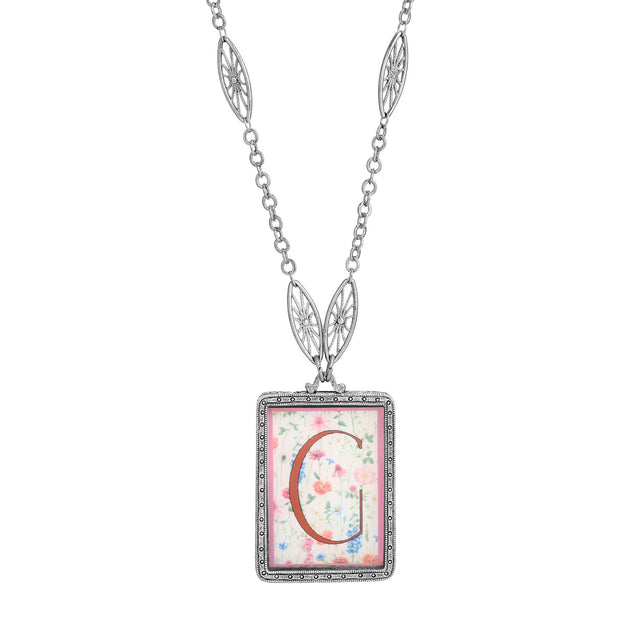 Rectangular Antiqued Floral Motif Initial G Pendant Necklace