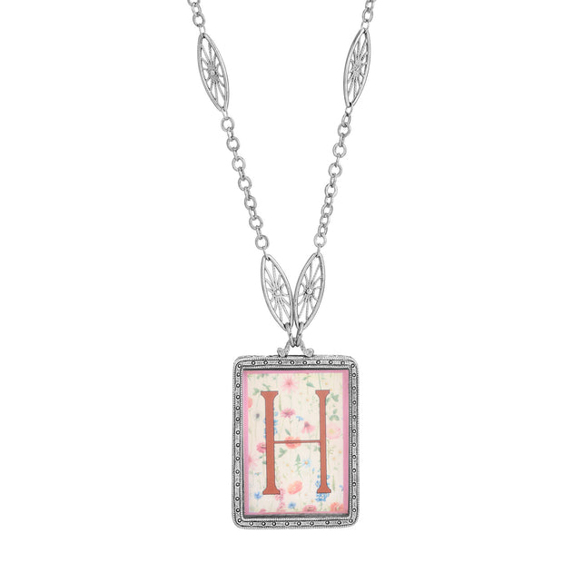 Rectangular Antiqued Floral Motif Initial H Pendant Necklace