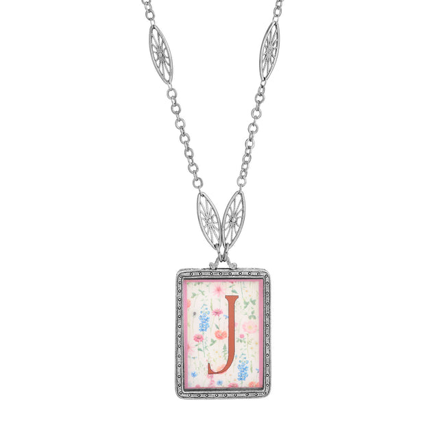Rectangular Antiqued Floral Motif Initial J Pendant Necklace