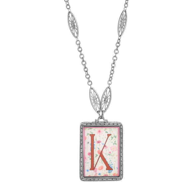 Rectangular Antiqued Floral Motif Initial K Pendant Necklace