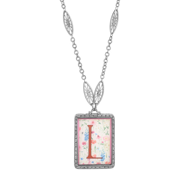 Rectangular Antiqued Floral Motif Initial L Pendant Necklace