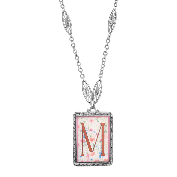 Rectangular Antiqued Floral Motif Initial M Pendant Necklace