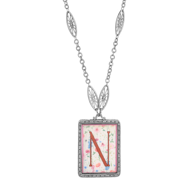 Rectangular Antiqued Floral Motif Initial N Pendant Necklace