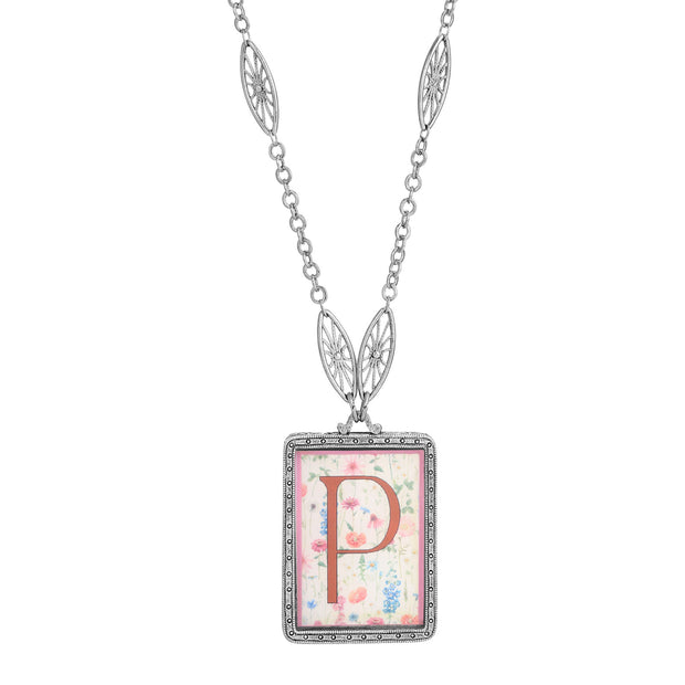 Rectangular Antiqued Floral Motif Initial P Pendant Necklace