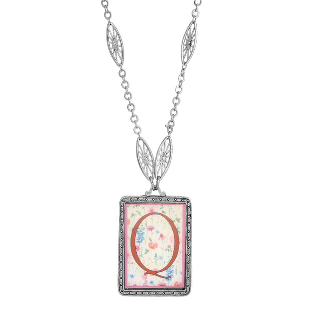 Rectangular Antiqued Floral Motif Initial Q Pendant Necklace