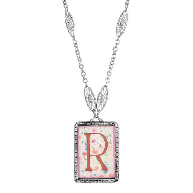 Rectangular Antiqued Floral Motif Initial R Pendant Necklace