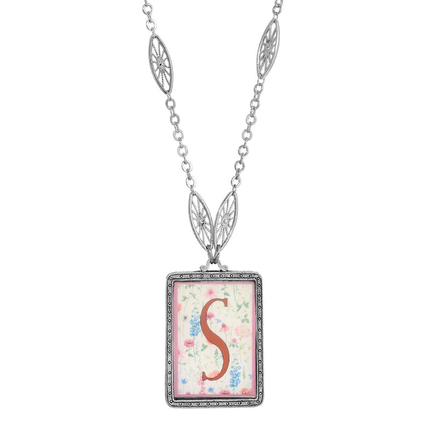 Rectangular Antiqued Floral Motif Initial S Pendant Necklace