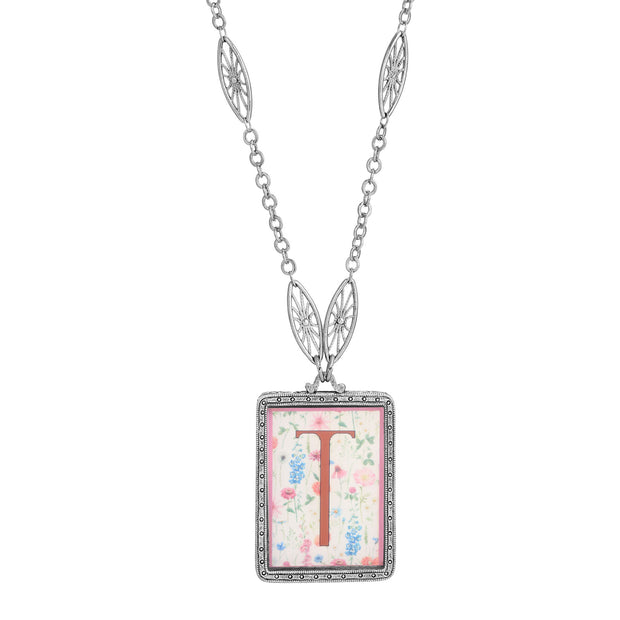 Rectangular Antiqued Floral Motif Initial T Pendant Necklace