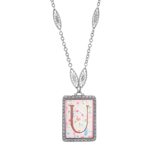 Rectangular Antiqued Floral Motif Initial U Pendant Necklace