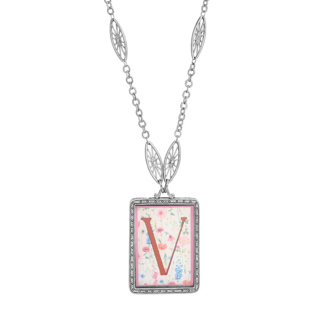 Rectangular Antiqued Floral Motif Initial V Pendant Necklace
