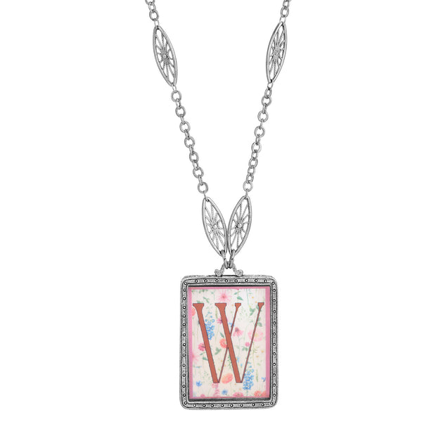 Rectangular Antiqued Floral Motif Initial W Pendant Necklace
