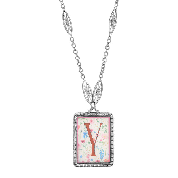 Rectangular Antiqued Floral Motif Initial Y Pendant Necklace