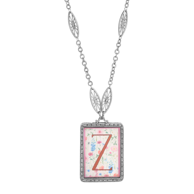 Rectangular Antiqued Floral Motif Initial Z Pendant Necklace
