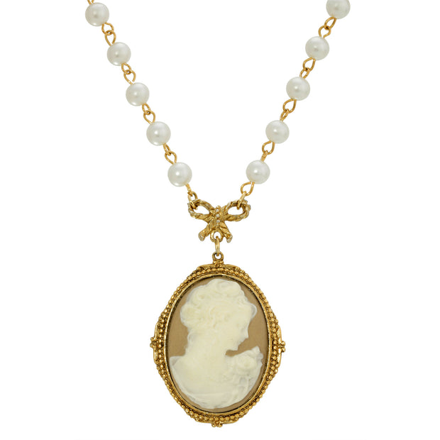 1928 Jewelry 14k Gold Dipped Taupe Cameo Pearl Strandage Necklace 16 - 19 Inch Adjustable