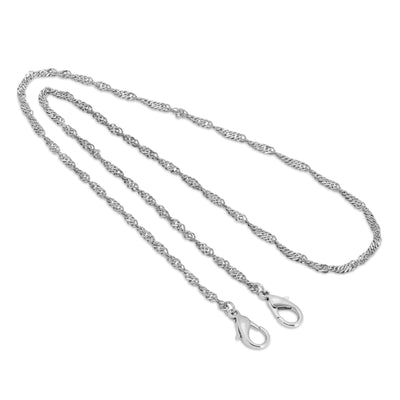 Silver Tone Twisted Curb Rope Face Mask Chain Holder 22 Inches