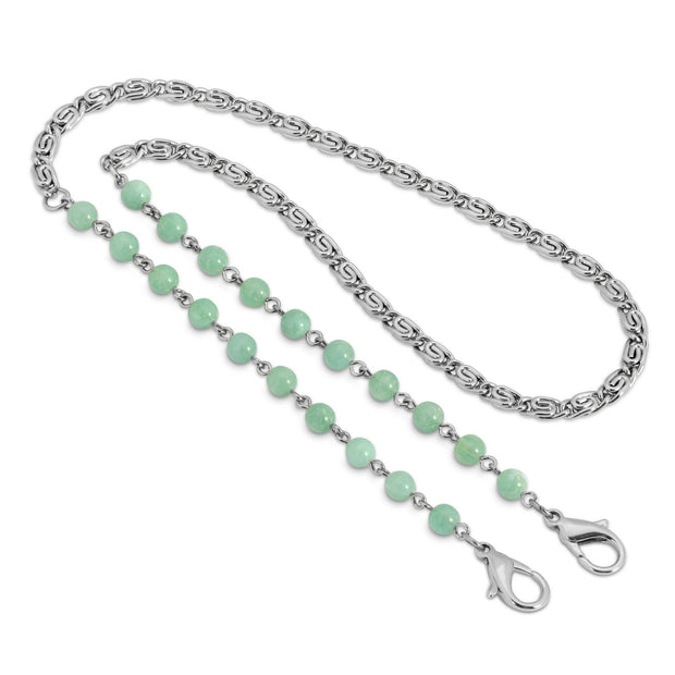 Silver Tone Beaded Face Mask Chain Holder 22 Inch