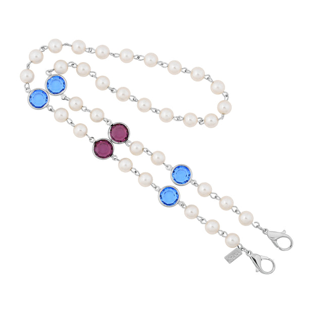 Silver Tone Cultura Pearl & Round Swarovski Crystal Elements Face Mask Chain Holder 22 Inch