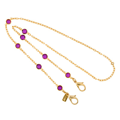 14K Gold Dipped Round Amethyst Swarovski Crystal Elements Face Mask Chain Holder 22 Inch