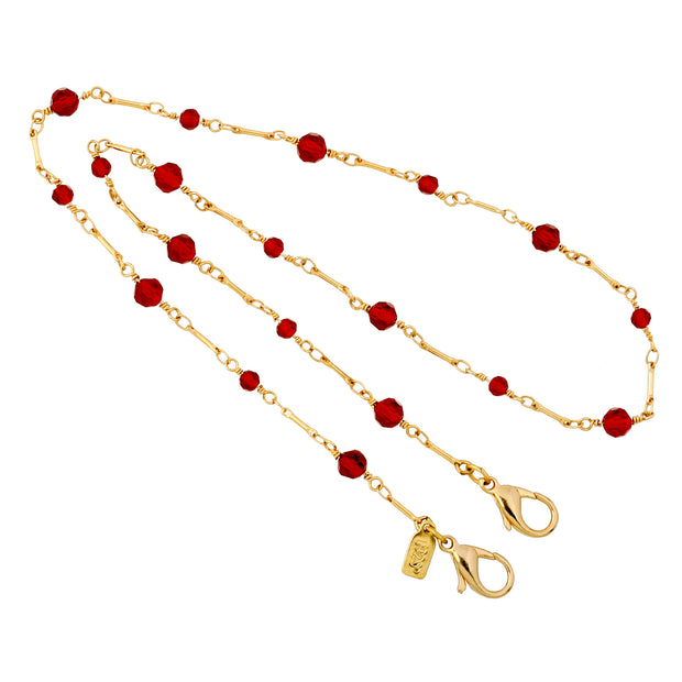 14k Gold Dipped Red Glass Bead Face Mask Chain Holder 22 Inches