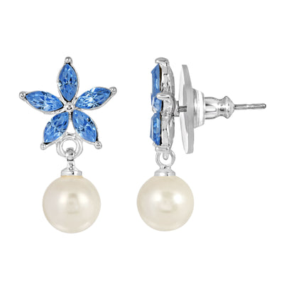 Silver-Tone Light Blue Crystal and Simulated Pearl Flower Drop Earrings