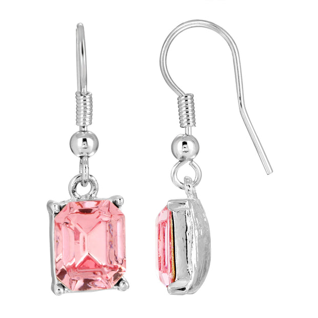 Silver-Tone Rose Pink Swarovski Elements Octagon Drop Earrings