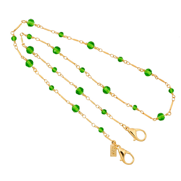 Green 14K Gold Dipped Glass Bead Face Mask Chain Holder 22 Inches