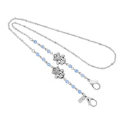 Silver Tone Dog Paw & Beaded Face Mask Chain Holder 22 Inch