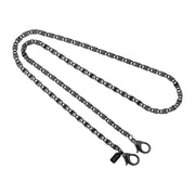 Jet Black Scroll Face Mask Chain Holder 22 Inch