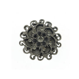 Fashion Jewelry - Black Diamond Color Crystal Flower Cocktail Stretch Ring