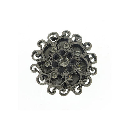 Black-Tone Black Diamond Color And Black Crystal Flower Stretch Ring