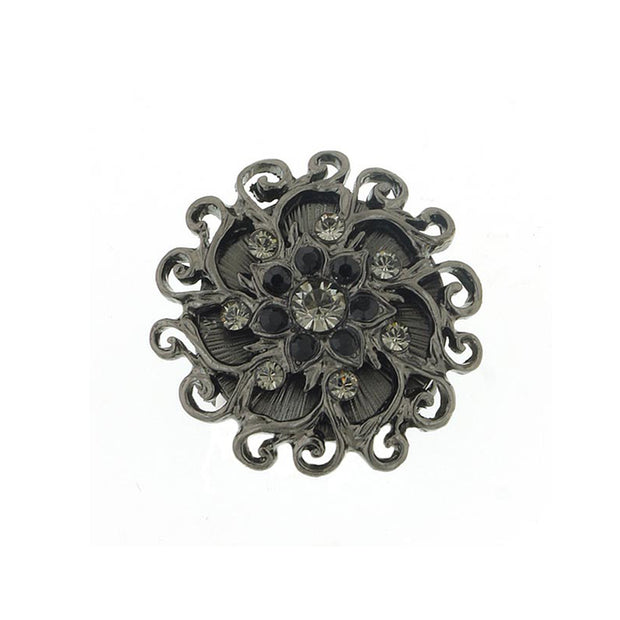 Black Tone Black Diamond Color And Black Crystal Flower Stretch Ring