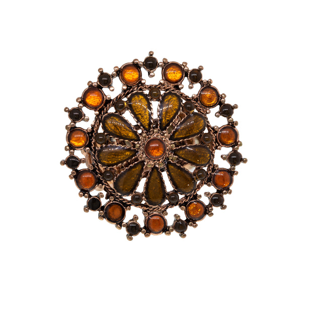 Copper-Tone Topaz Color And Orange Flower Round Stretch Ring