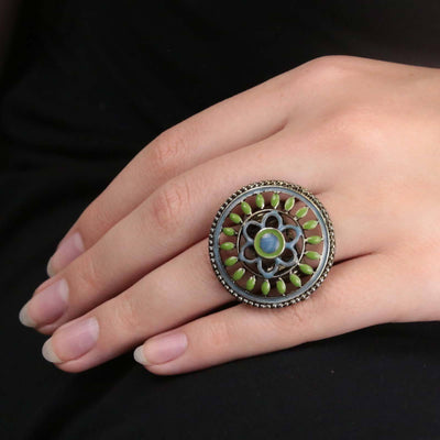 Gold Tone Blue And Green Enamel Round Floral Stretch Ring