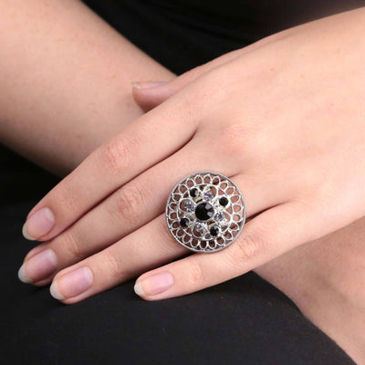 Silver Tone Black Diamond Color And Black Crystal Round Stretch Ring
