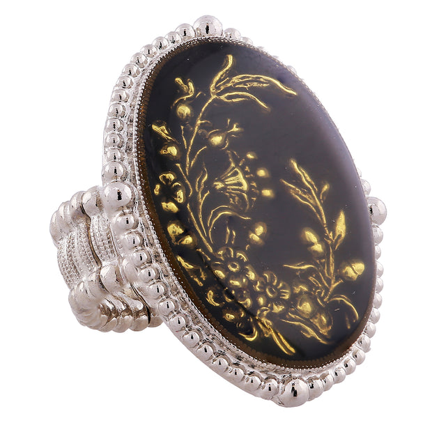 Silver Tone Oval Hand Enameled Black And Gold Floral Stretch Ring