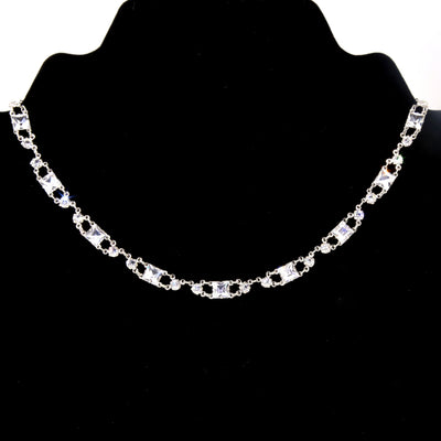 Silver Tone Swarovski Square Crystal Collar Necklace 14.5