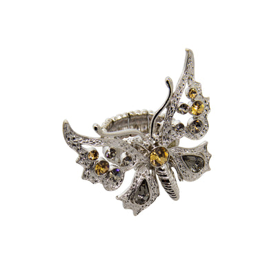 Silver Tone Light Topaz And Black Diamond Color Butterfly Stretch Ring