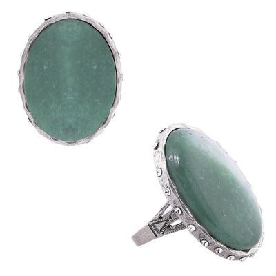 Gemstone Green Aventurine Oval Ring With Accent Swarovski Crystals