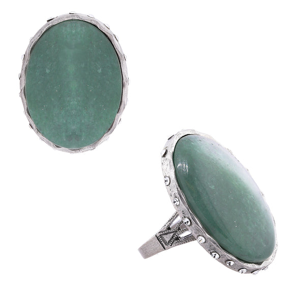 Semi-Precious Green Aventurine Oval Ring w/Accent Swarovski Crystals