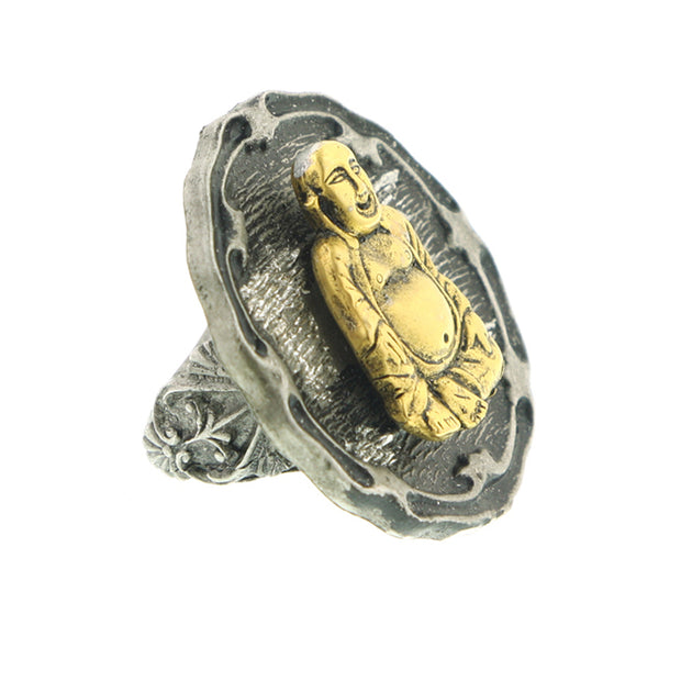Two Tone 14K Gold Dipped Buddha And Pewter Tone Ring 7.5