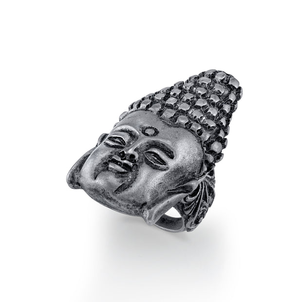 Pewter-Tone Buddha Head Ring